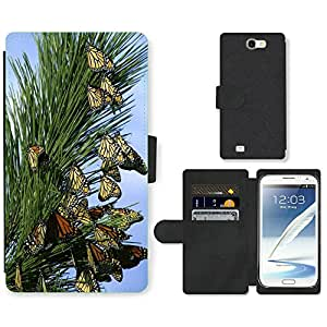 Hot Style Cell Phone Card Slot PU Leather Wallet Case // M00113420 Monarch Butterflies Butterfly Insects // Samsung Galaxy Note 2 II N7100