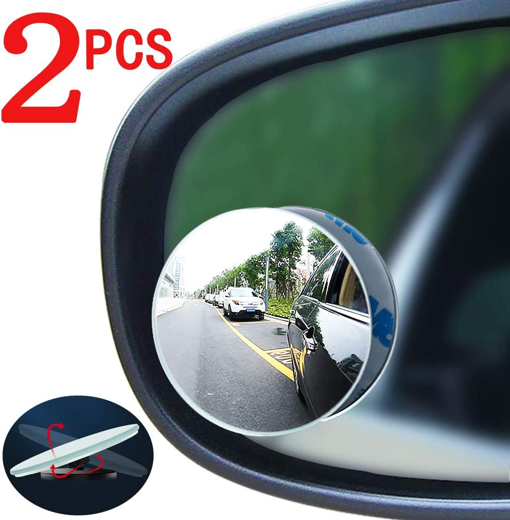 Suitable for All Cars Car Blind spot Mirror 2pcs Convex Mirror Trucks and Off-Road Vehicles Round Frameless high-Definition Wide-Angle Glass Rearview Mirror 360 /° Swing Adjustment