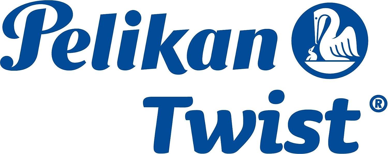 mango ergon/ómico uso escolar Pluma estilogr/áfica Twist cartucho de tinta azul incluido Verde ne/ón para usuarios diestros y zurdos Pelikan 807258 punta de acero M