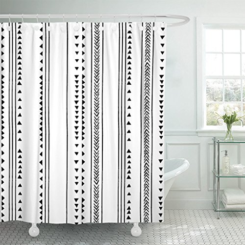 (TOMPOP Shower Curtain Gray African Triangle Stripes Herringbone Pattern Monochromatic Black White Waterproof Polyester Fabric 72 x 72 Inches Set with Hooks)