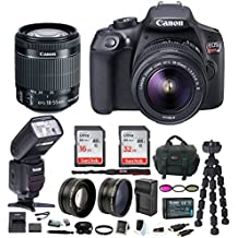Canon EOS Rebel T6 DSLR Camera w/EF-S 18-55mm IS II Lens & Zoom TTL Bounce & Swivel Flash, 48GB, Filter Kit, Wide Angle and Telephoto Lenses & Bundle