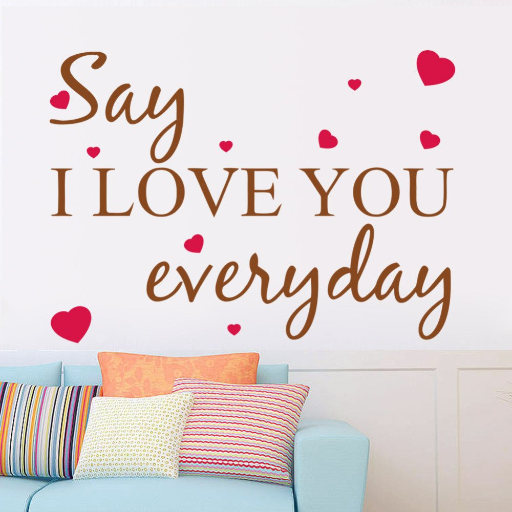 NjetYY Wall Sticker Quote Wall Decal I Love You Everyday Heart Words Large Nice Wall Sticker Quote Vinyl Wall Art Decals Home Decor Kids Room Decals by NjetYY