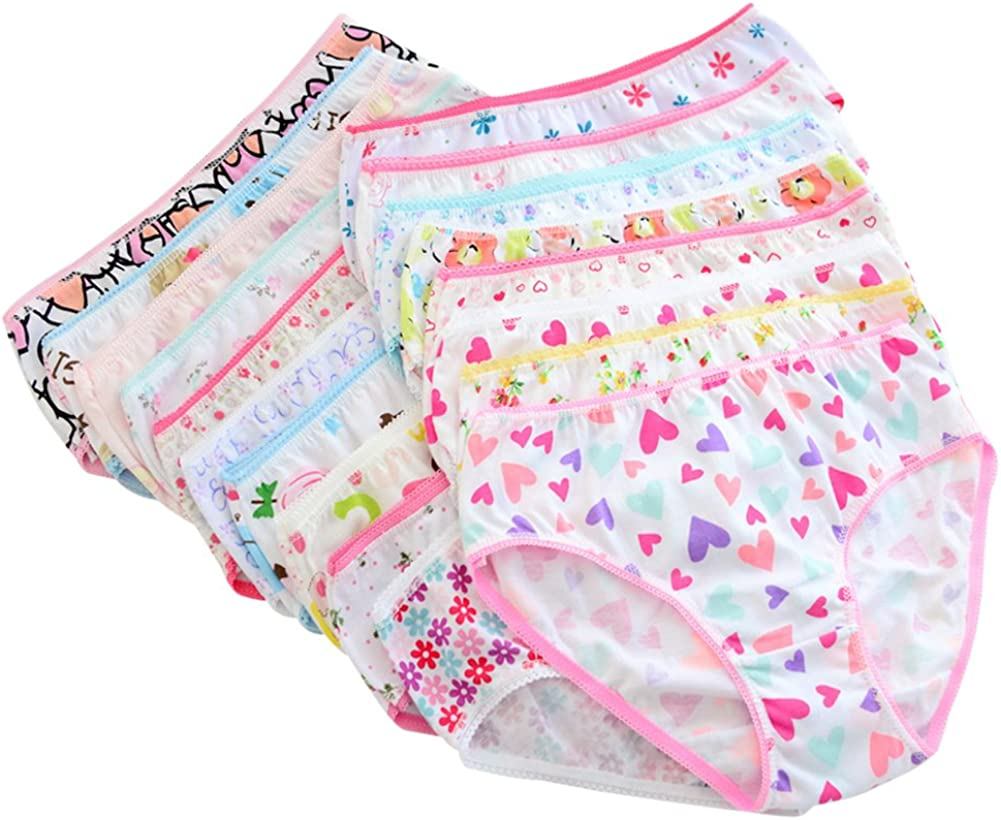 Okwin 4 Pack Baby Girls Underwear Kids Cotton Knickers Toddlers Bow-Knot Panties Bloomers Training Pants Cartoon Diapers 0-7 Years