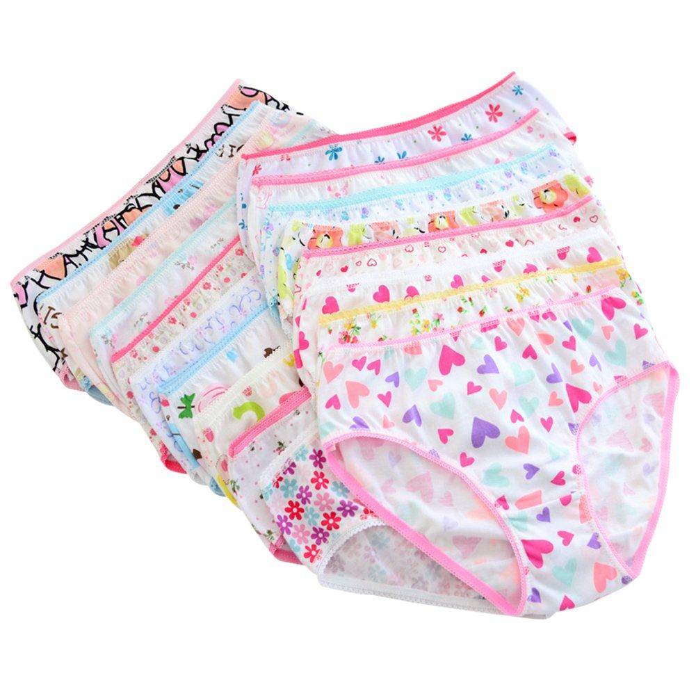 Blaward 6Pcs/Set Cotton Children Girl Underwear Cartoon Panties Flower Animal Lace Briefs for Kids