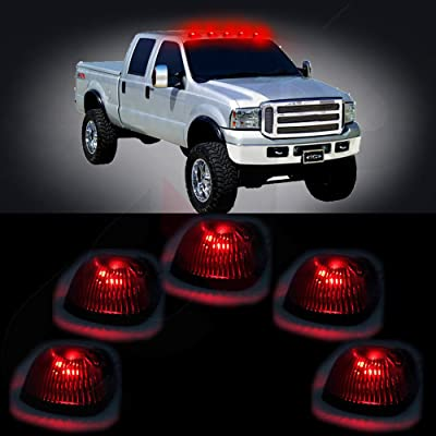 cciyu 5x Black Smoked Cab Roof Top Marker Running Lamps w/Red LED Light Bulbs Replacement fit for Replacement fit ford Super Duty Pickup truck: Automotive