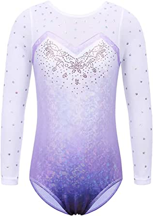 BAOHULU Toddler Girls Gymnastics Leotard Shiny Aqua Lace Athletic Dance Outfit