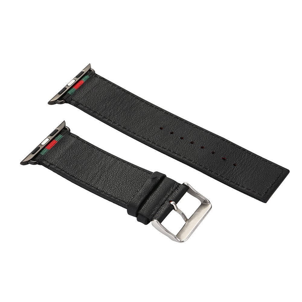 MORTREE Nylon and Leather Band for Apple Watch Series 3 Bands,Woven Nylon Replacement Band with Top Layer Genuine Leather Wrist Band for Apple Watch Series 3/2/1(Green and Red in Black 38mm)