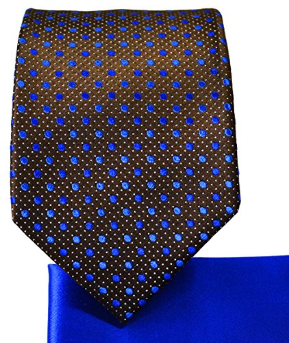 Chestnut Tie (Chestnut and Royal Blue 7-fold Silk Tie and Pocket Square)
