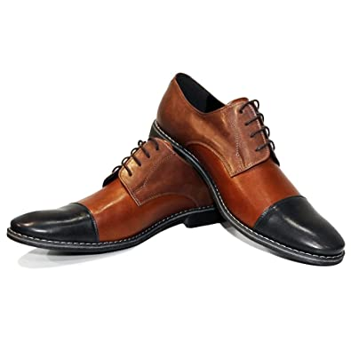 Modello Mandera - Handmade Italian Mens Brown Oxfords Dress Shoes - Cowhide Smooth Leather - Lace-Up