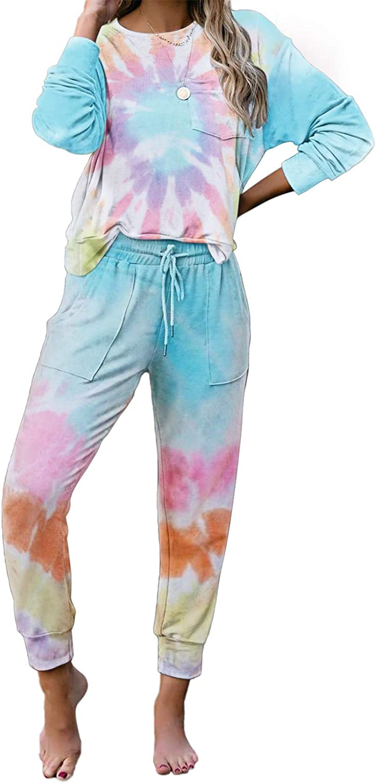 Pijamas largos de manga larga con tinte de corbata para mujer ...