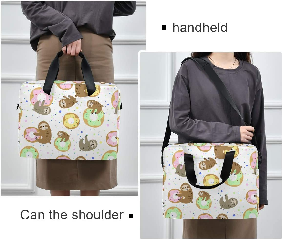 School Great to Casual Laptop Bag Briefcase Shoulder Bag Cute Sloth Sweet Doughnuts 15.6 Inch Tote Bag Laptop Messenger Shoulder Bag Laptop Sleeve