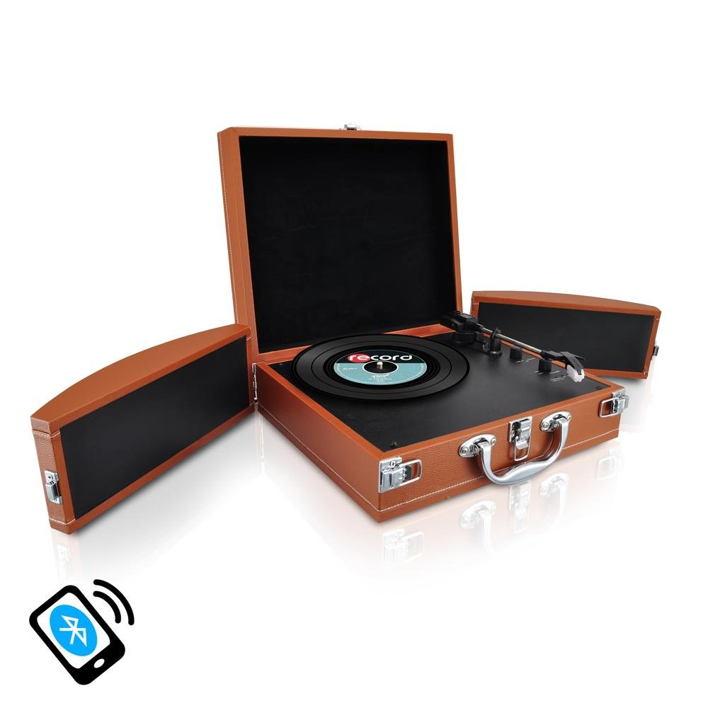 Upgraded Version Pyle Vintage Record Player, Classic Vinyl Player, Turntable, Rechargeable Batteries, Bluetooth Enabled Devices, MP3 Vinyl, Music Editing Software Included, Works w/ Mac & PC, 2 Speed