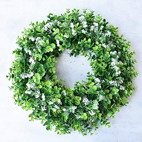 - Z-SRX Artificial Green Leaves Wreath Fake 17