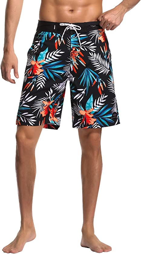 Mens Swim Trunks Quick Dry Surf Elastic Swimwear Bathing Suits