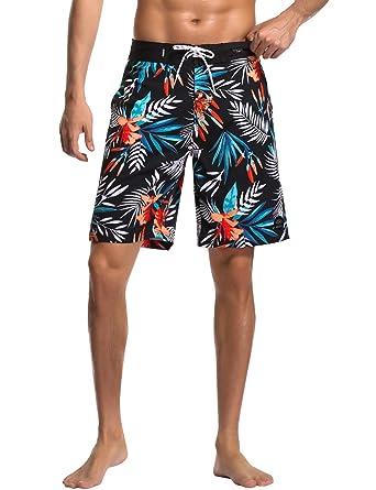 886430331feb4 AXESEA Mens Swim Trunks Quick Dry Surf Elastic Swimwear Bathing Suits No  Mesh Lining (Black