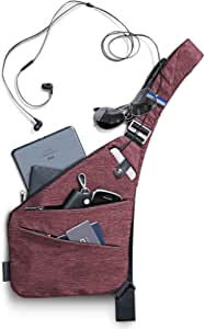 NIID-FINO Classic Sling Shoulder Crossbody Chest Bag Slim Backpack Multiuso Daypack (Borgoña, Mano Derecha)