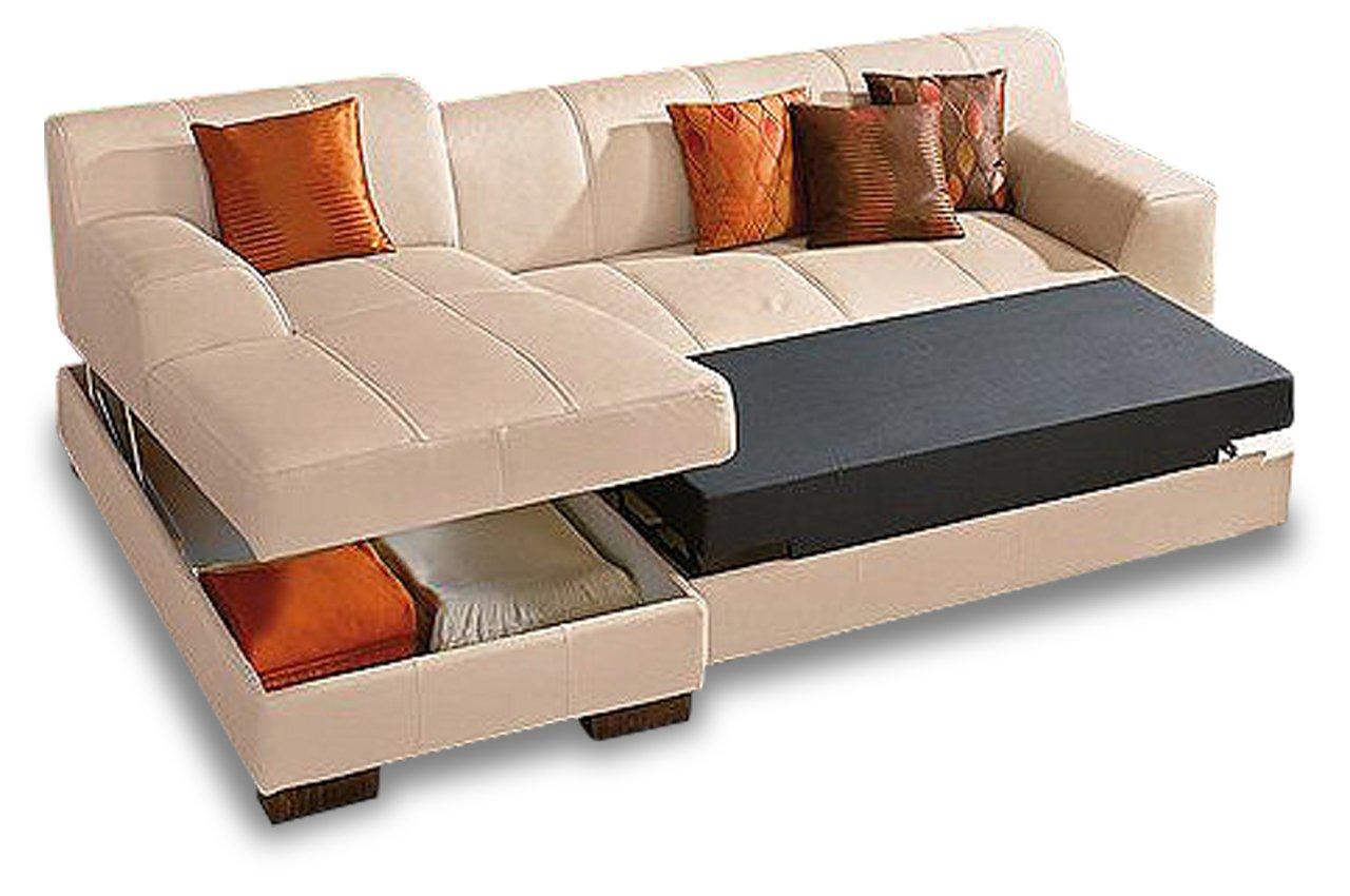 Sofa Polsterecke Falk Mit Bett Luxus Microfaser Creme Kaufen