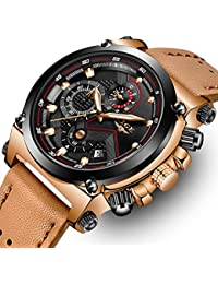 Mens Fashion Sport Quartz Watch with Brown Leather Strap Chronograph Waterproof Auto Date Analog Black Men