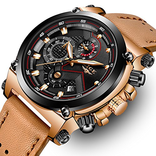 LIGE Mens Fashion Sport Quartz Watch with Brown Leather Strap Chronograph Waterproof Auto Date Analog Black Men Wrist Watches