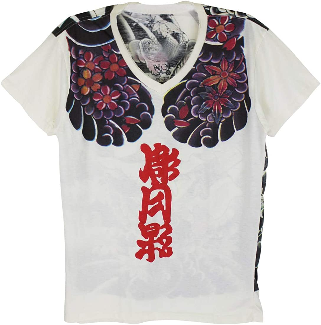Work Japan Irezumi Tattoo Samurai Bushido T-Shirt White / WK105 Size M