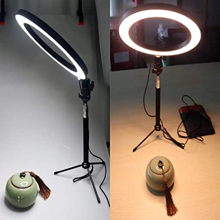 AKDSteel 16//26cm Dimmable LED Studio Camera Ring Light Phone Video Light Lamp Selfie Stick Ring Table Fill Light Single lamp 16CM
