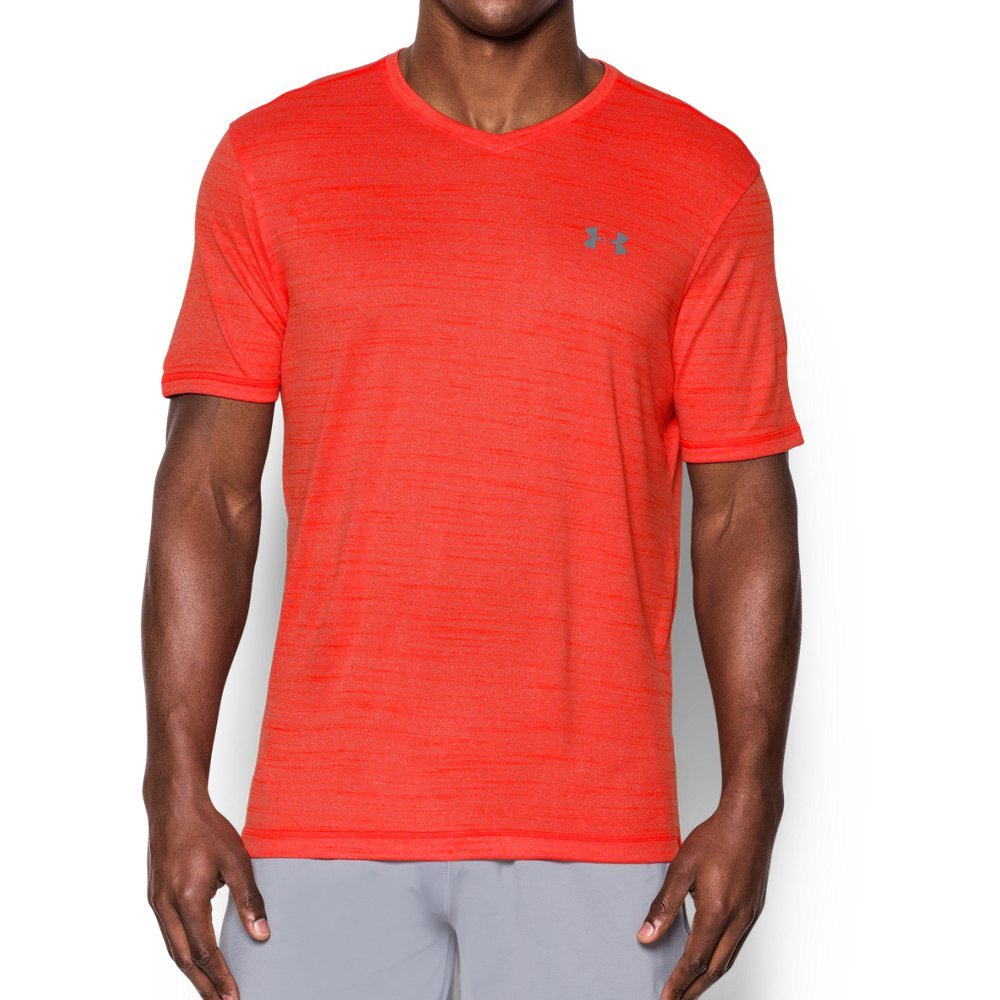 Under Armour Men's Tech V-Neck T-Shirt, Dark Orange , Medium by Under Armour