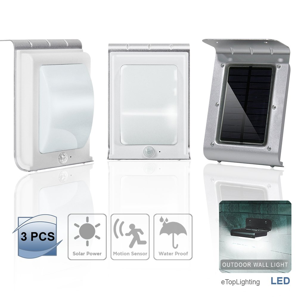 eTopLighting 3 Packs of 16-LED Solar-Powered Outdoor Wall Light Lamp with Motion Sensor, Water Proof, Heat Proof, Durable Metal Body, Solar Panel, AGG1998