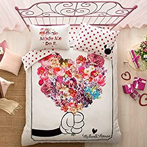 ALWAYS_CHEAPEST 100% Turkish Cotton 4 PCS!! Ranforce Disney Mickey and Minnie Flowers Full Double Queen Size Quilt Duvet Cover Set Bedding Set for Mother's Day Made in Turkey