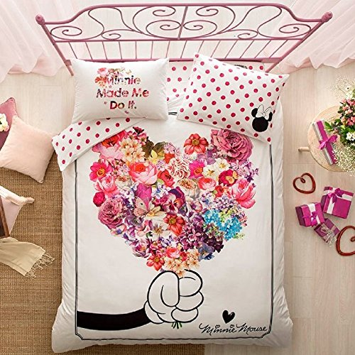 (ALWAYS_CHEAPEST 100% Turkish Cotton 4 PCS!! Ranforce Disney Mickey and Minnie Flowers Full Double Queen Size Quilt Duvet Cover Set Bedding Set for Mother's Day Made in)