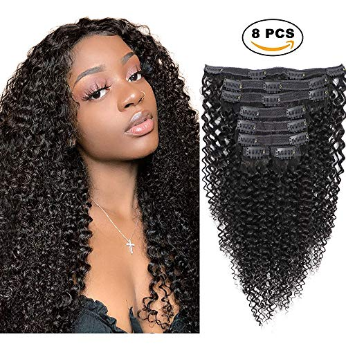 Sibaile Kinky Curly Clip ins Human Hair,Real Thick,Double Weft,8A Virgin Remy Human Hair 3C 4A Type Kinkys Curly Clip in Hair Extensions for Women Natural Color 120g 8Pcs/Set with 18 Clips 16Inch (Best Products For 3c Hair Type)