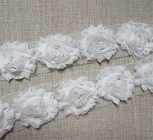 2 Meters Frayed Chiffon Rose 3D Flower Lace Edge Trim Ribbon 6 cm Width Shabby Chic Colourful Edging Trimmings Fabric Embroidered Applique Sewing Craft Wedding Dress DIY Clothes Decor (White)