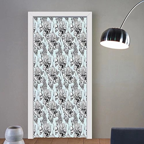 Gzhihine custom made 3d door stickers Shabby Chic Vintage Monochrome Pond Water Flowers Lily Carp Snail Twigs Artwork Baby Blue Black White For Room Decor (Monochrome Twigs)