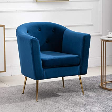 Homesailing EU Velvet Tub Chair with Golden Metal Legs Accent Chair  Armchair Leisure Sofa Armchair Upholstered Occasional Chair for Living Room