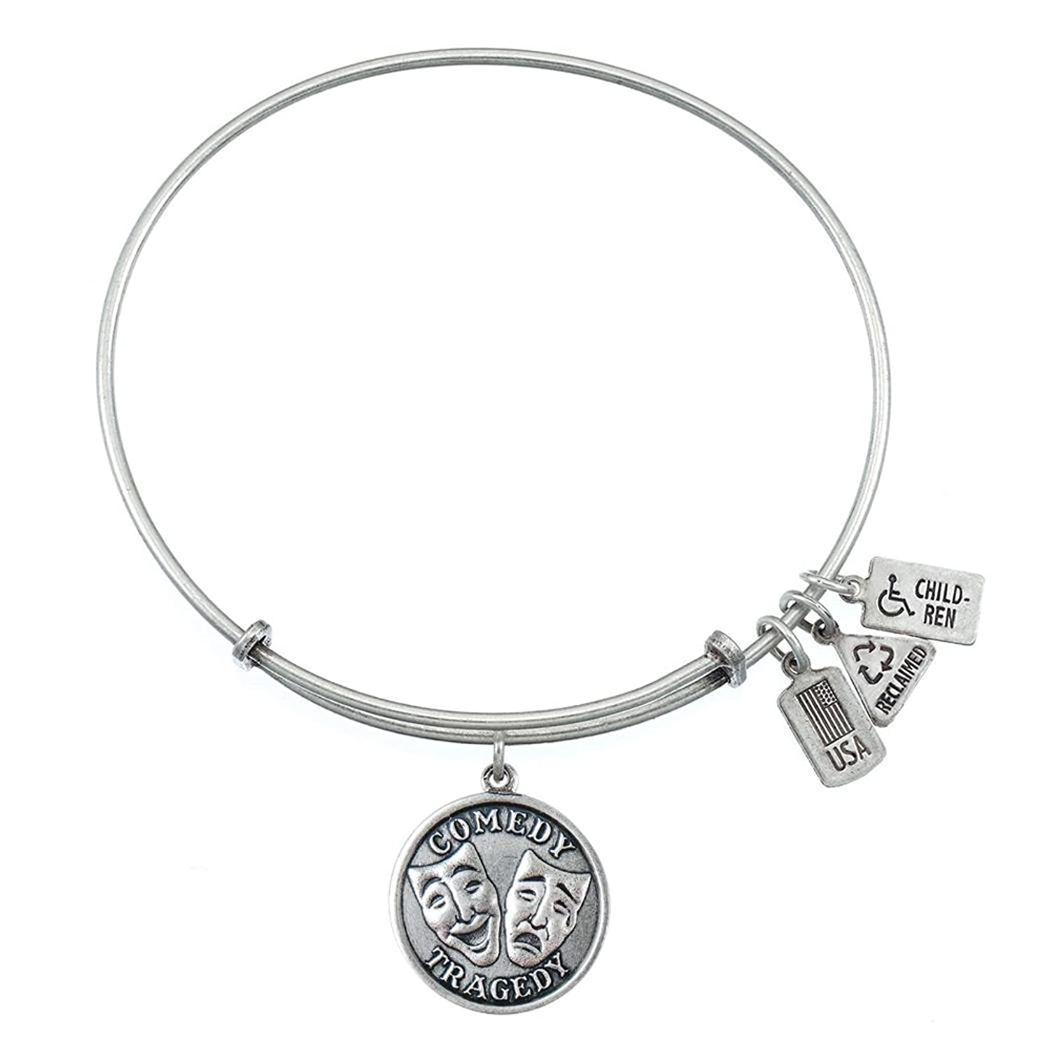 Comedy/Tragedy Charm Bangle-Silver