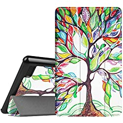 Fintie Slim Case for All-New Amazon Fire 7 Tablet (7th Generation, 2017 Release), Ultra Lightweight Slim Shell Standing Cover with Auto Wake / Sleep, Love Tree