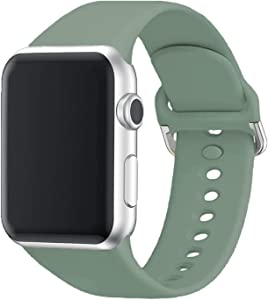 Yigko Sport Band Compatible for Apple Watch Band, Soft Silicone Wrist Replacement Strap for Watch Series 6/5/4/3/2/1/SE (Matte Pine Green, 38mm/40mm M/L)
