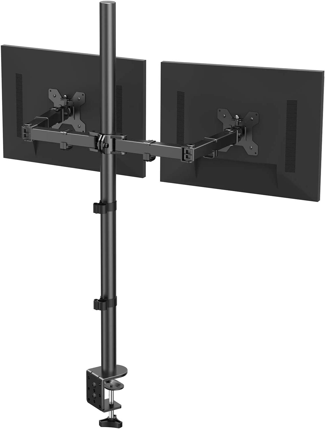 HUANUO Dual Monitor Stand with Extra Tall Pole 39.37 inch, Fully Adjustable Monitor Mount, C Clamp & Grommet Mounting Base