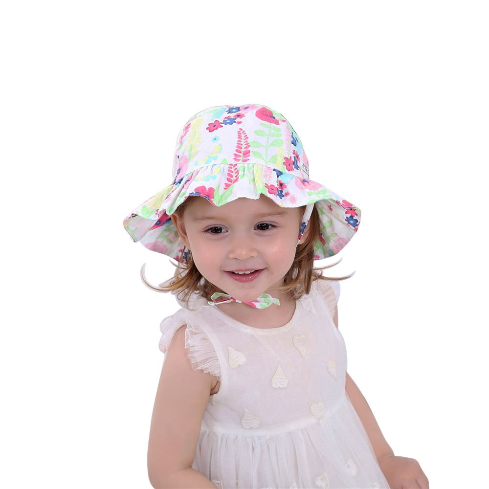 Kids Toddler Baby Girl Bucket Sun Hat with Chin Strap Printcloth Summer Foldable Sunhat Cap 1-2t