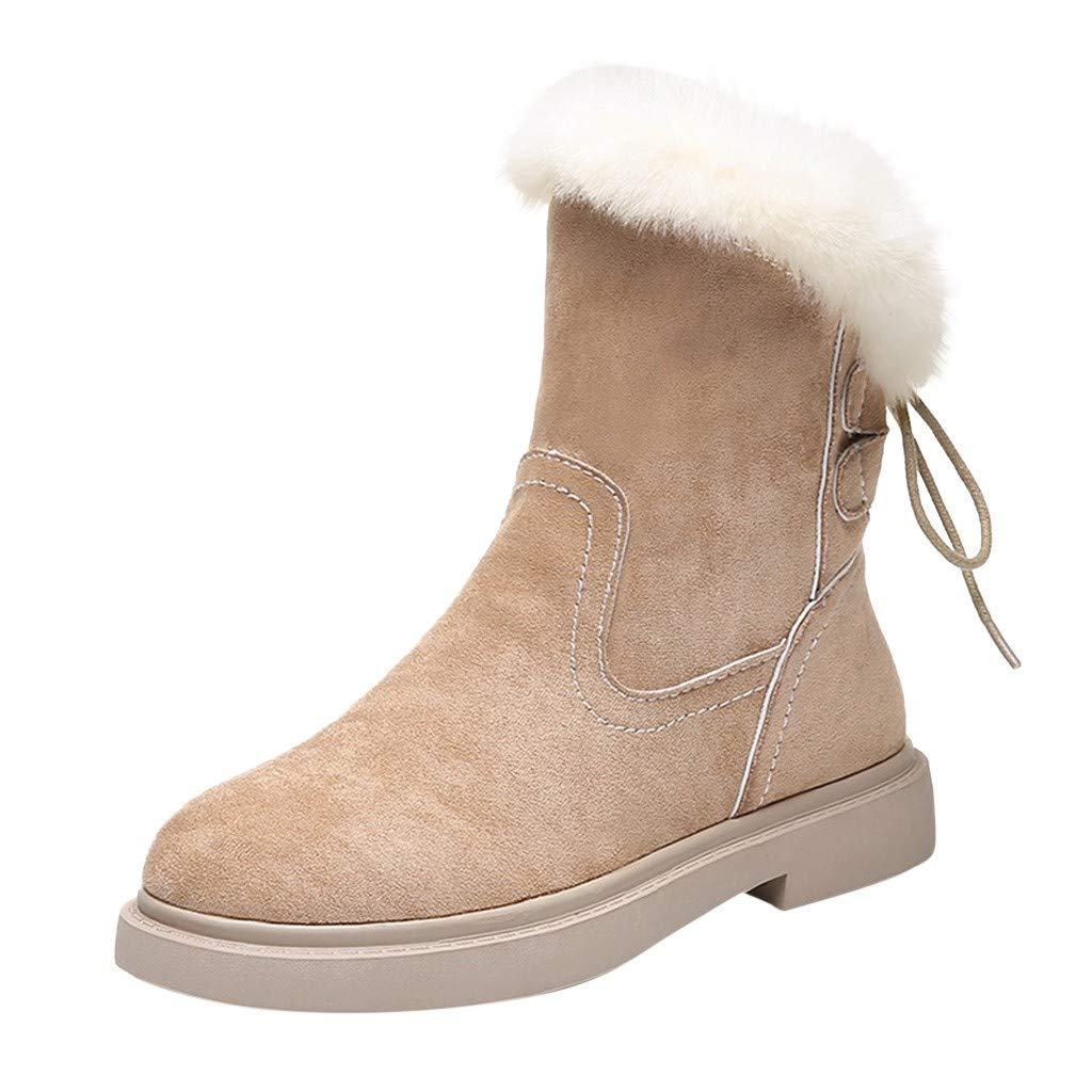 Midress Winter Warm Suede Boots For Women Back Cross Lace Up Winter Platforms Flat Ankle Snow Boots Plush Lined Cozy Shoes by Midress