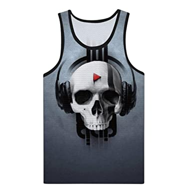 7abf0d73d4fae vermers Clearance Sale Men s Fashion Skull Tank Tops Summer Casual 3D  Printed Muscle Sleeveless Vest(