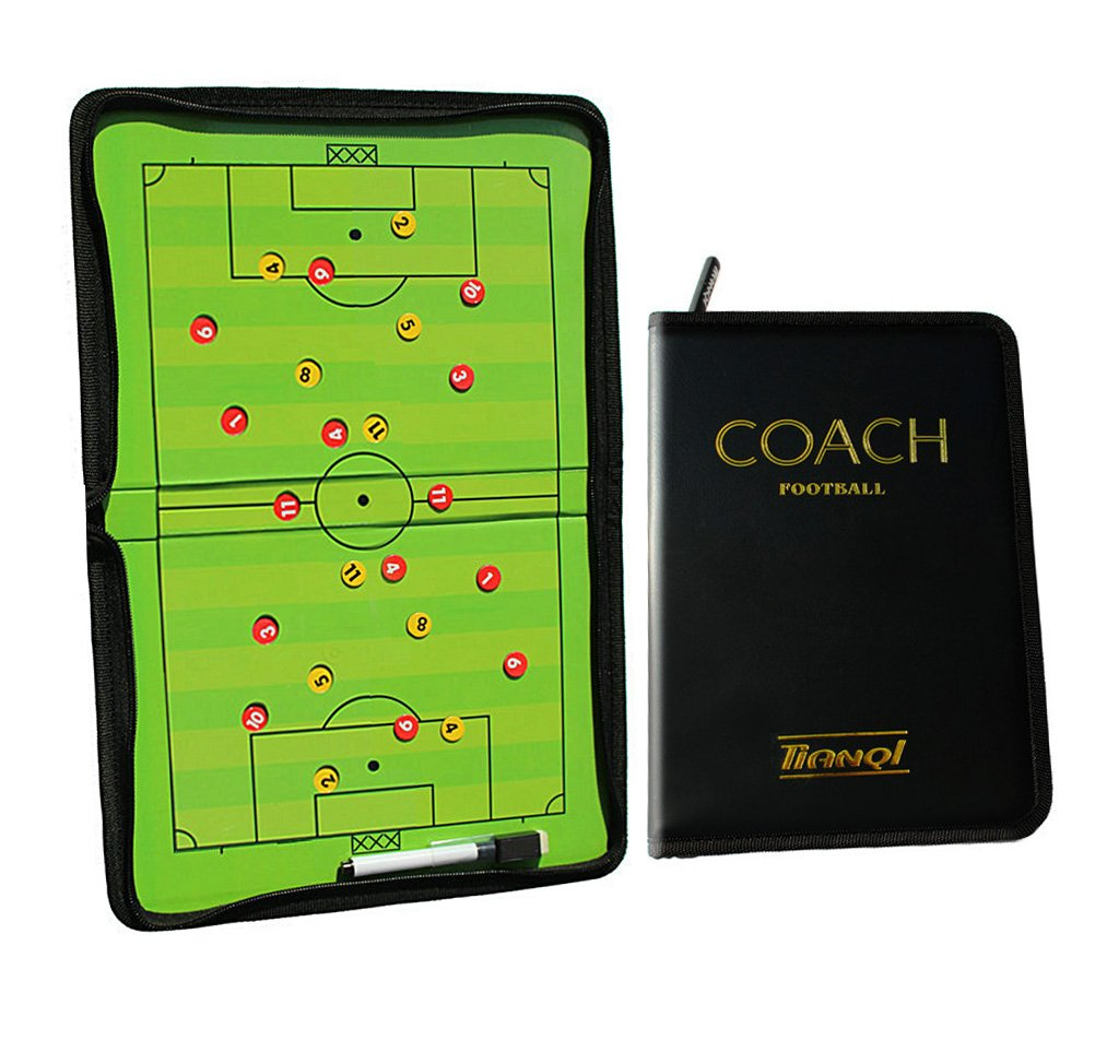 Firelong Football Soccer Coaches Foldable Magnetic Tactics Strategy Board Zipper-closure with an Erasable Write-Wipe 2 in 1 Pen