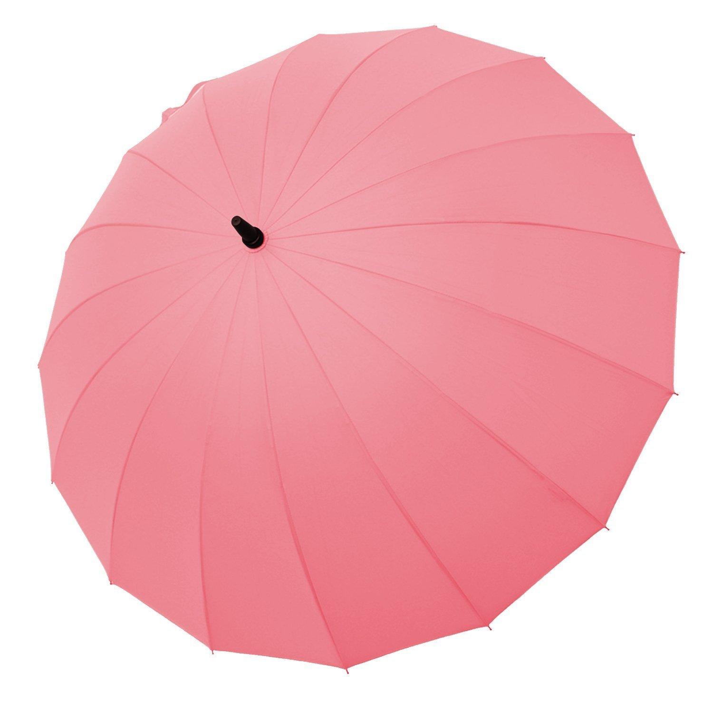 Saiveina 47 Inch Auto Open Straight Strong Durable Umbrella, 190T Fiber Waterproof Windproof Sport Umbrella 16 Ribs (SV1258 - Pink)