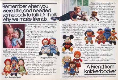 Knickerbocker Raggedy Ann Mickey Mouse + doll ad 1978 (Knickerbocker Raggedy Ann)
