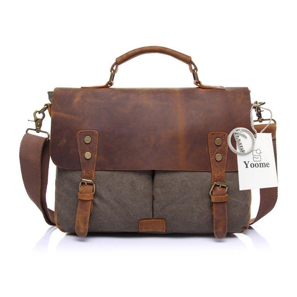 Yoome Men's Briefcase Sac à bandoulière en cuir Vintage Sac à bandoulière Toile Messenger School Satchel Sacs de travail jusqu'à 15, 6 pouces - Bleu YooM030-Blue
