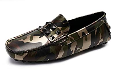 Fashion Men's Camouflage Shoes Cool Moccasin Comfort Slip-On Leather Loafers Driving Shoes