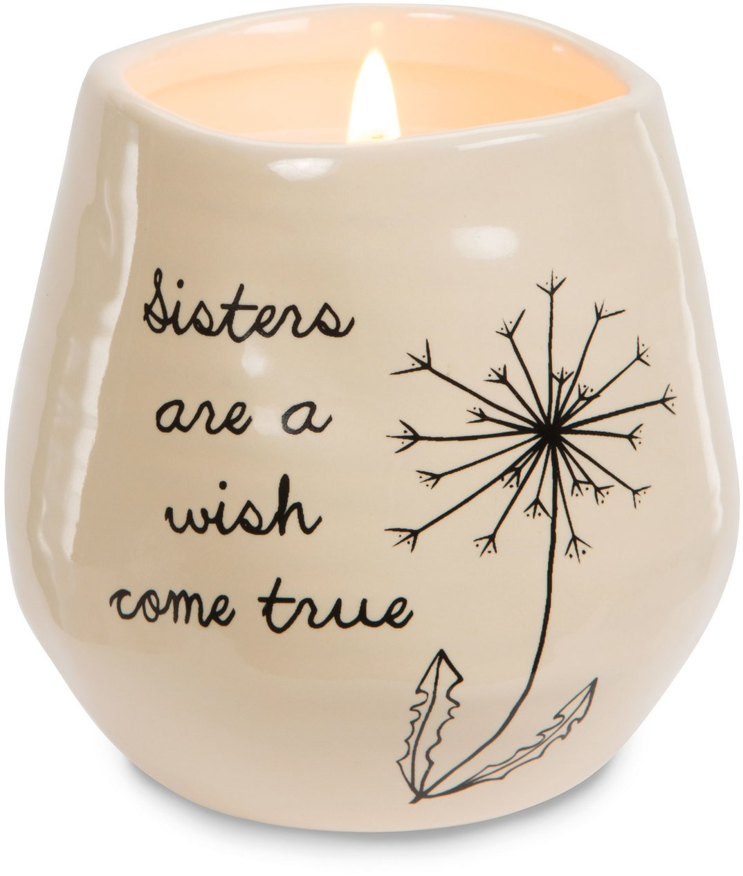 Pavilion Gift Company 77113 Plain Dandelion Wishes - Sisters Are A Wish Come True Yellow Ceramic Soy Serenity Scented Candle,