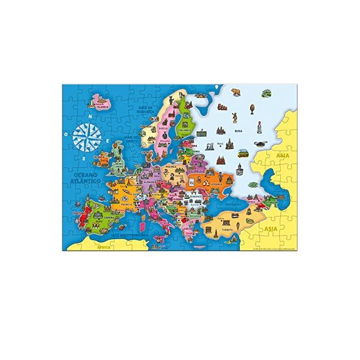 61Rse5spmWL Puzzle educativo de los países de Europa; una forma divertida de aprender la geografía europea y alguno de sus elementos culturales más característicos Cada país es una pieza, eso favorece el aprendizaje de cada país (con un color y forma diferentes)… y ayuda a entender el concepto de país y continente Desarrolla la capacidad de concentración y de relacionar; mejora la coordinación ojo-mano y la motricidad fina; mapa Actualizado
