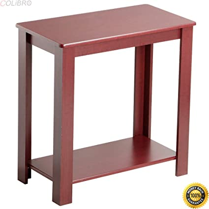 COLIBROX  Narrow Chair Side Table Coffee Sofa Wooden End Shelf Living Room  Furnit,