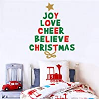 IARTTOP Creative Christmas Quotes Tree Wall Decal, Joy Love Cheer Believe Christmas Sticker for Window Clings Living…