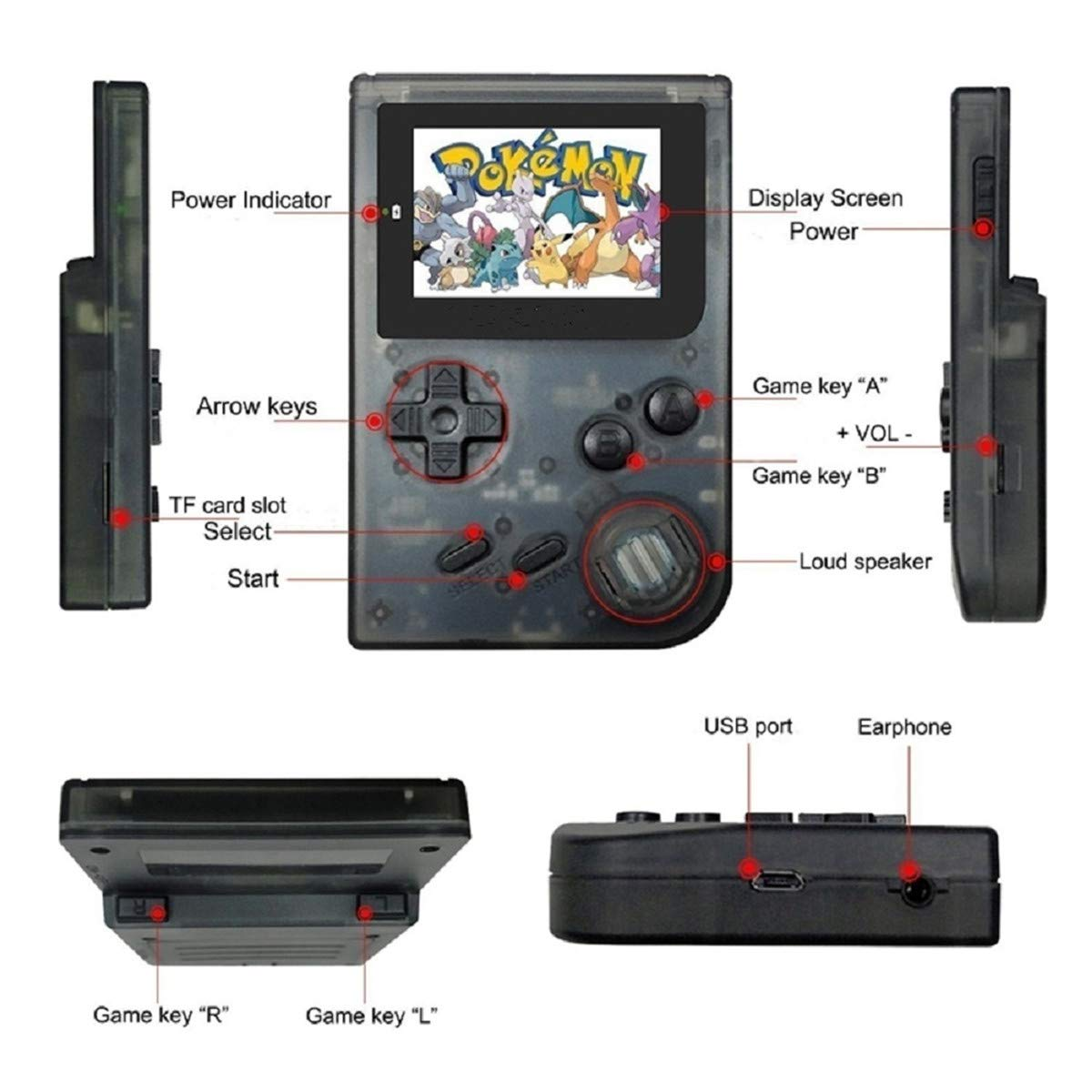 BAORUITENG Handheld Games Consoles , Retro TV Game Console Video Game Console Player 2.0 Inch Game Console with 1169 GBA System Classic Games for Kids Gift (Black) by BAORUITENG (Image #4)